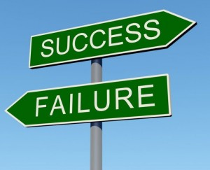 success vs failure road sign